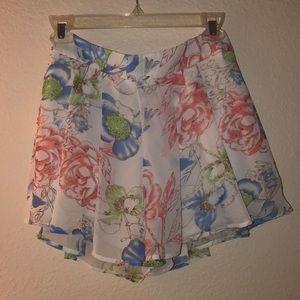 NWOT Floral Chiffon Shorts